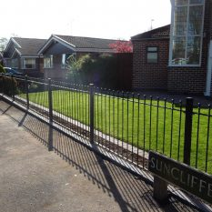 Landscaping turf and railings